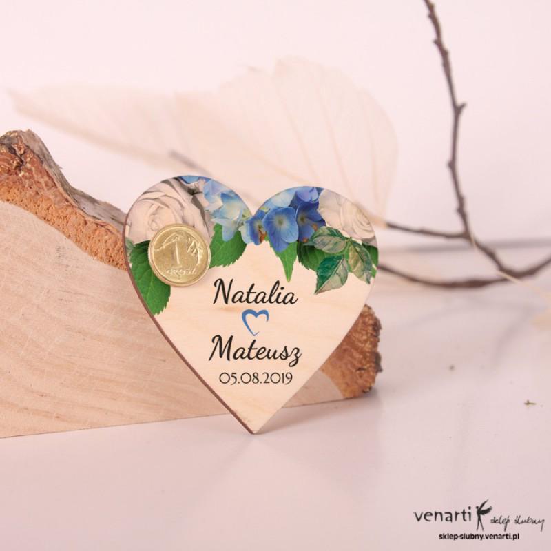 Hortensja Ślubny magnes na lodówkę z grosikiem