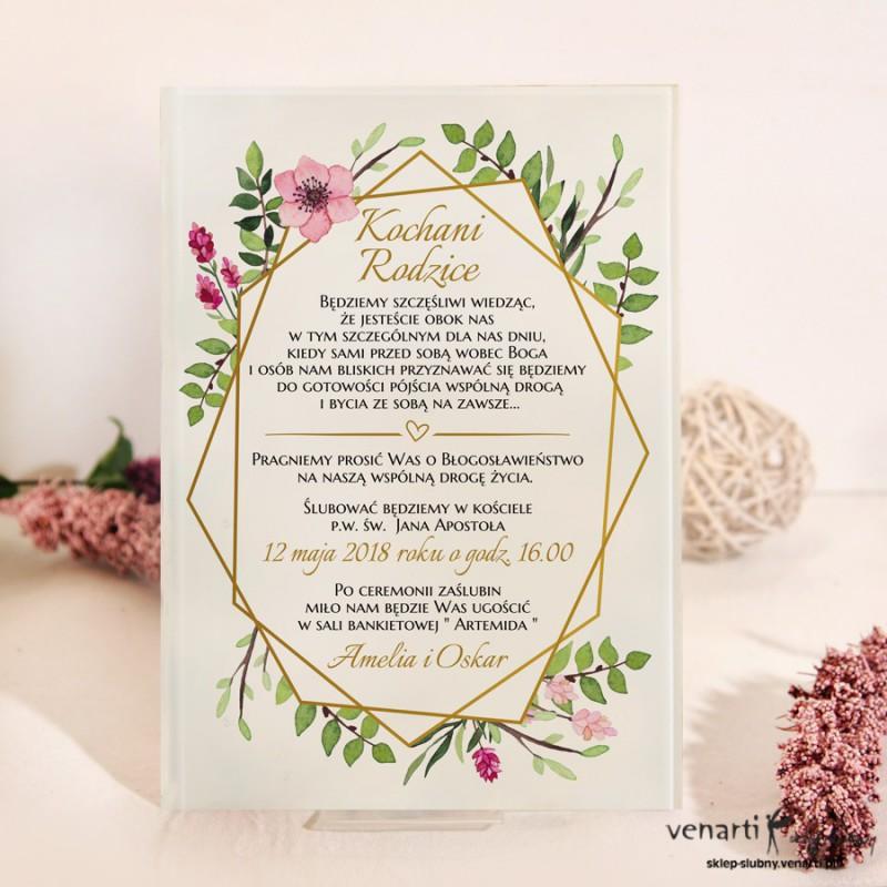 Złota ramka geometryczna z kwiatami Szklane zaproszenia dla Rodziców