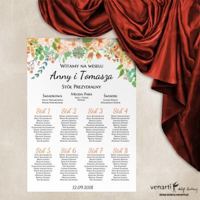Pomarańczowe kwiaty Ślubny plan stołu plakat