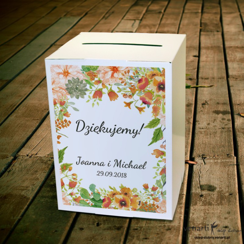Pomarańczowe kwiaty Ślubne pudełko na koperty