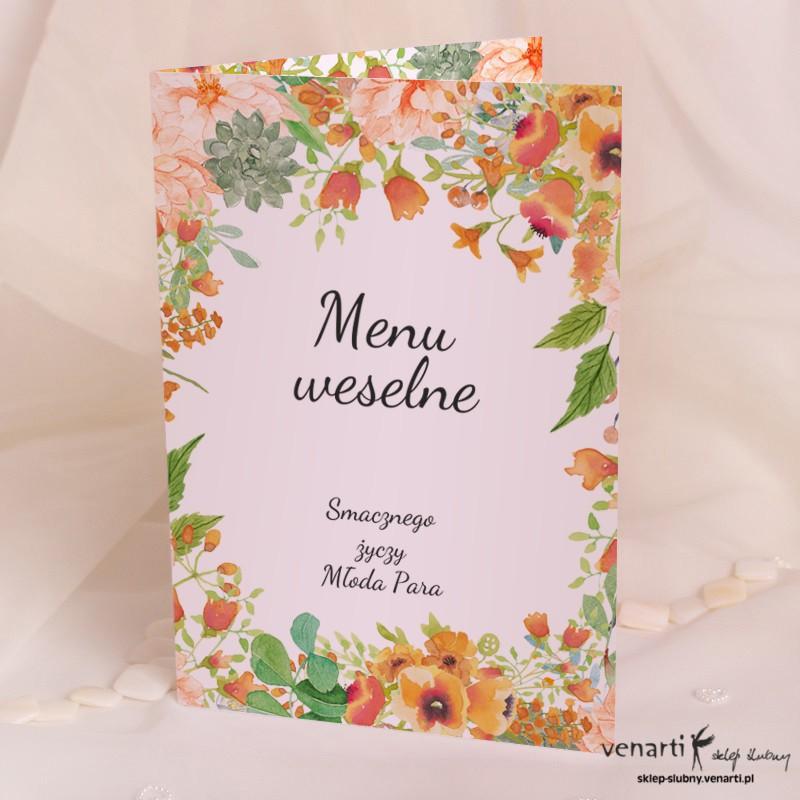 Menu ślubne Pomarańczowe kwiaty
