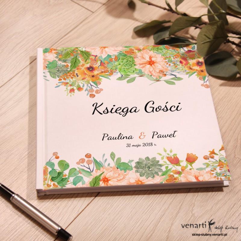 Pomarańczowe kwiaty Ślubny, biały album, księga gości