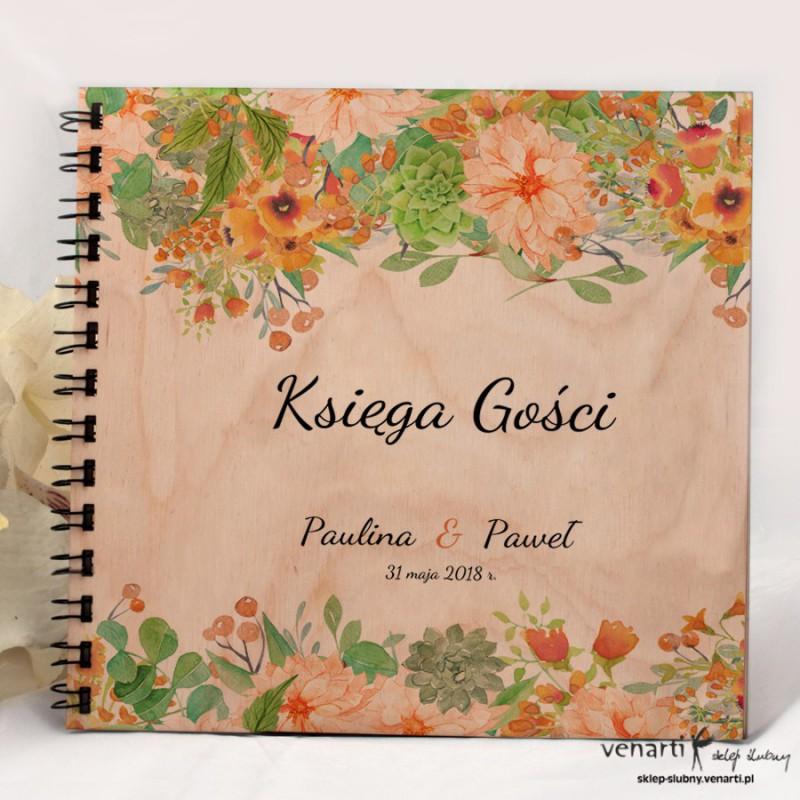 Pomarańczowe kwiaty Ślubny album, księga gości