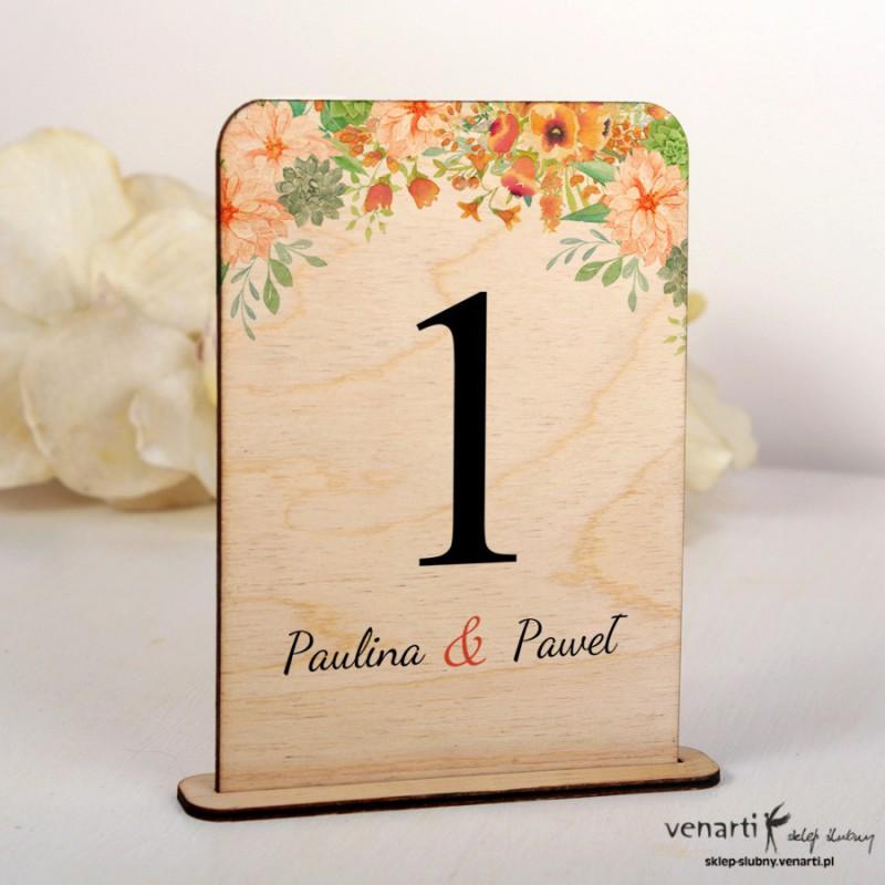 Pomarańczowe kwiaty Ślubne drewniane numerki na stół
