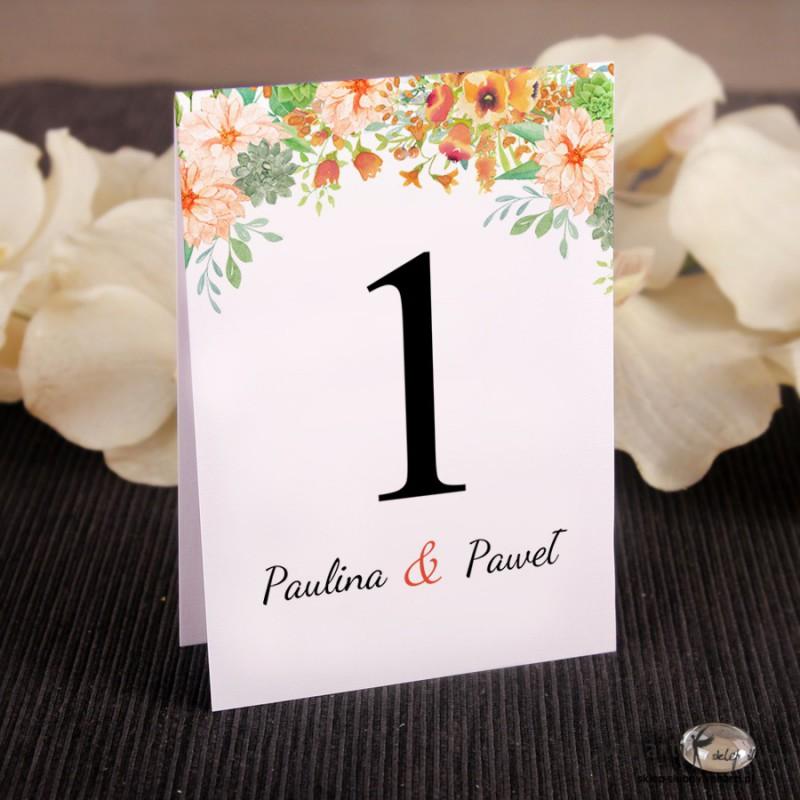 Pomarańczowe kwiaty Ślubne numerki na stół