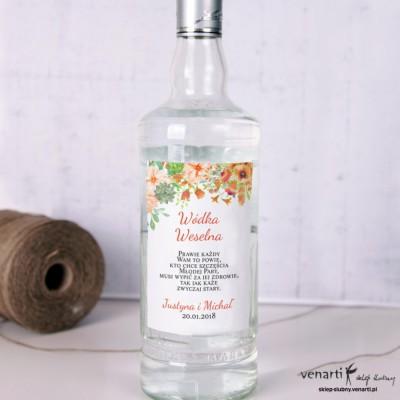 Pomarańczowe kwiaty Ślubne etykiety na alkohol