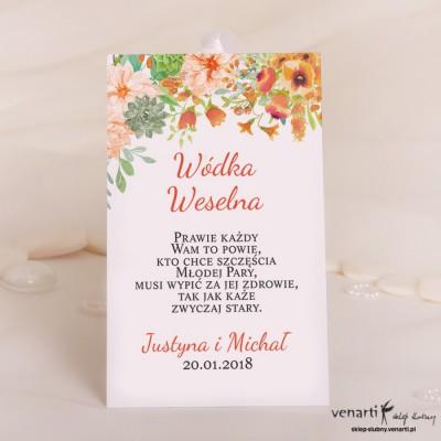 Pomarańczowe kwiaty Zawieszki na wódkę weselną