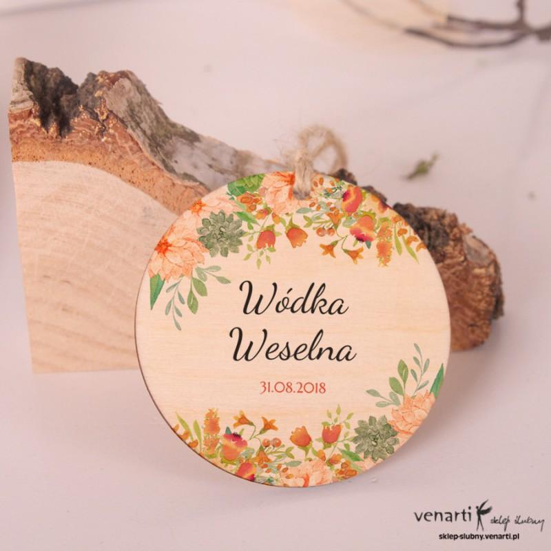 Pomarańczowe kwiaty Okrągłe, ślubne, drewniane zawieszki