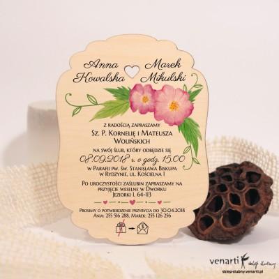 Różowe kwiaty Drewniane zaproszenia ślubne