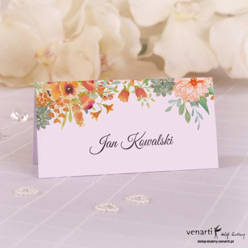 Winietki ślubne Pomarańczowe kwiaty