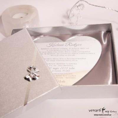 Serce Zaproszenia ślubne lustrzane dla Rodziców