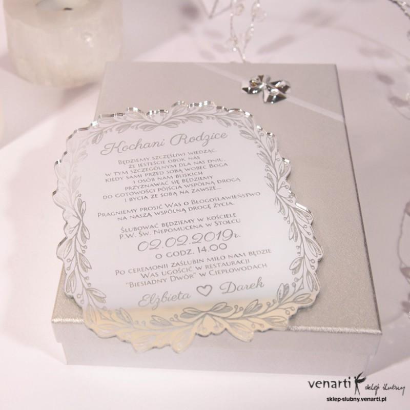 Zaproszenia ślubne lustrzane dla Rodziców w pudełeczku
