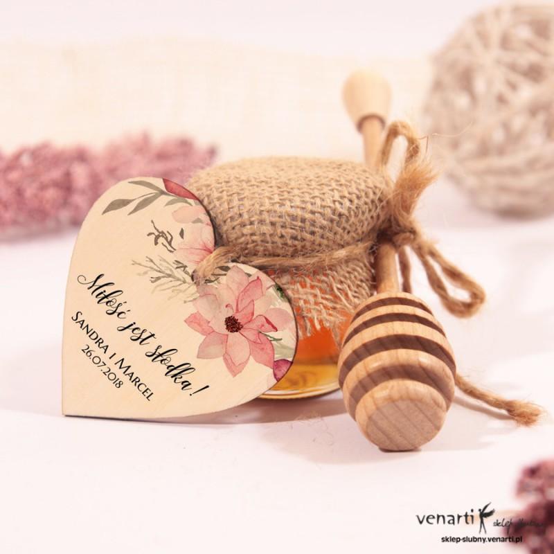 Słoiczek ślubny z łyżką do miodu i sercem