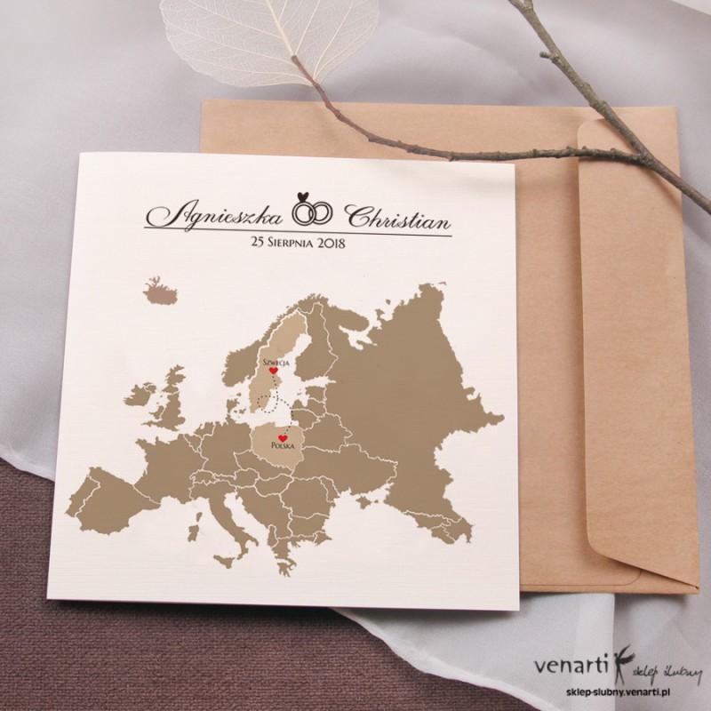 Zaproszenia ślubne Mapa Europy
