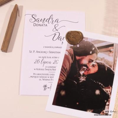 Zaproszenia ślubne ze zdjęciem i lakiem