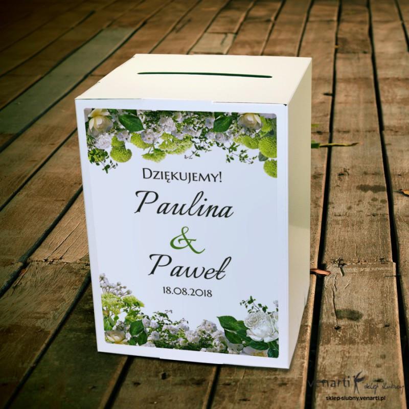 Białe kwiaty Ślubne pudełko na koperty
