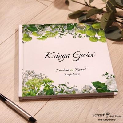 Białe kwiaty Ślubny album, księga gości