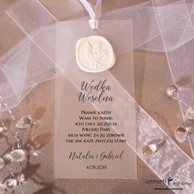 Zawieszki ślubne transparentne z lakiem