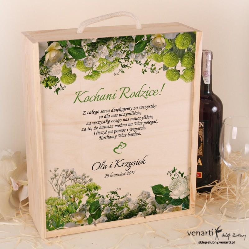 Białe kwiaty Ślubna Skrzynka na wino + 2 kieliszki