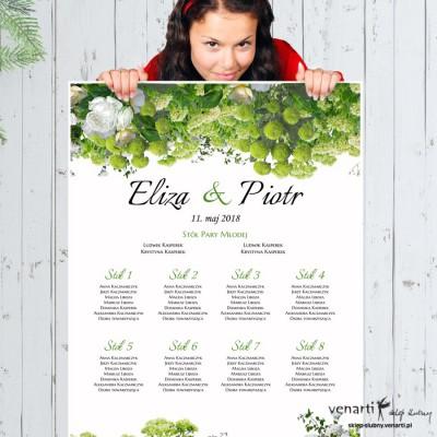 Plan stołu plakat Białe kwiaty