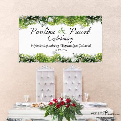 Białe kwiaty Baner ślubny