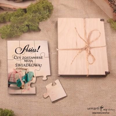 Świadkowanie, puzzle i pudełko drewniane: Czy zostaniesz moim świadkiem? Auto z prezentem
