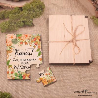Świadkowanie, puzzle i pudełko drewniane: Czy zostaniesz moim świadkiem? Pomarańczowe kwiaty