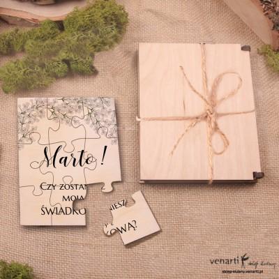 Świadkowanie, puzzle i pudełko drewniane: Czy zostaniesz moim świadkiem? Gipsówka