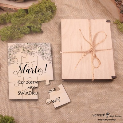 Świadkowanie, puzzle i pudełko drewniane: Czy zostaniesz moją świadkową? Gipsówka
