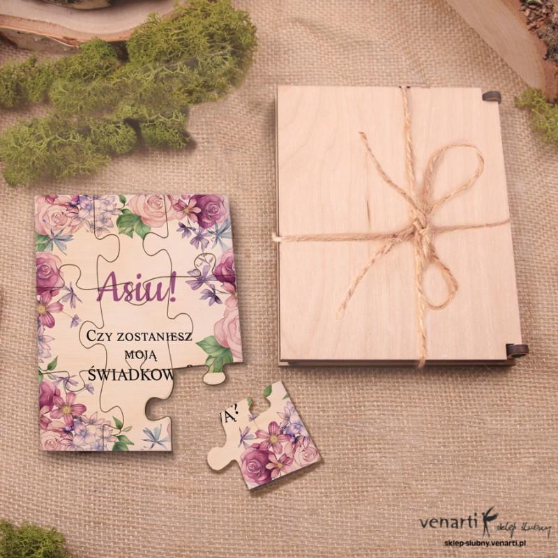 Świadkowanie, puzzle i pudełko drewniane: Czy zostaniesz moim świadkiem? Rustykalne kwiaty