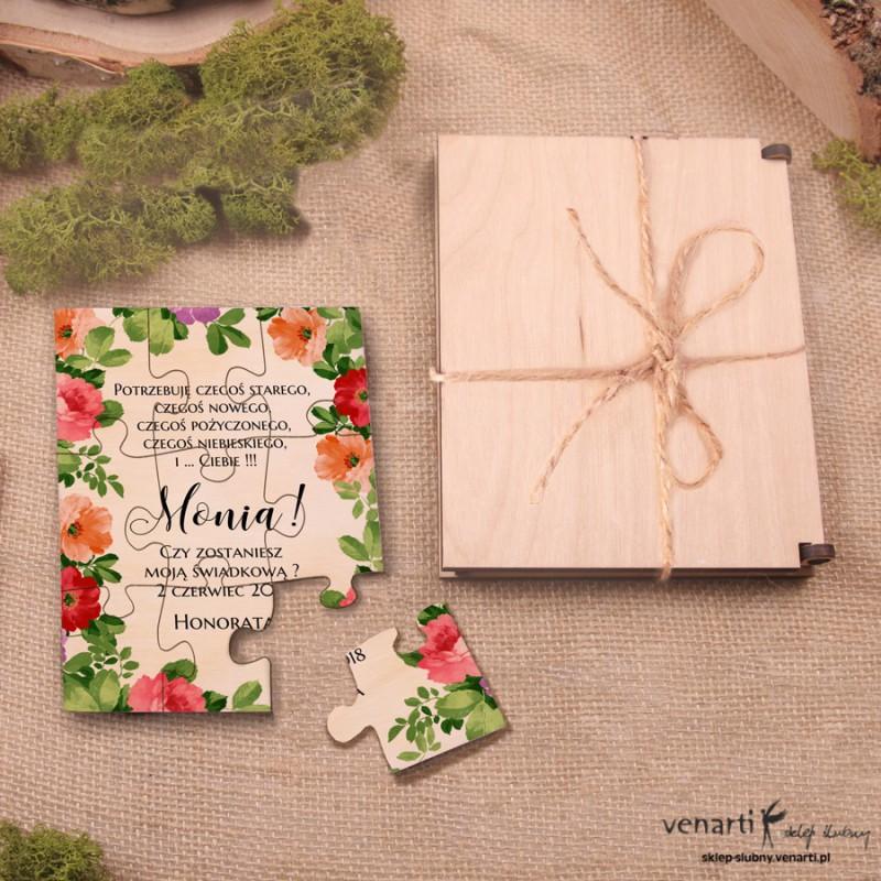 Świadkowanie, puzzle i pudełko drewniane: Czy zostaniesz moją świadkową? Kolorowe kwiaty