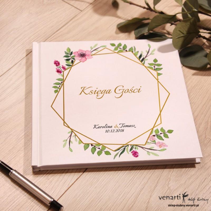 Złota ramka geometryczna z kwiatami Ślubny, biały album, księga gości