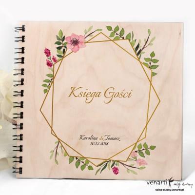 Drewniany album, księga wpisów Złota ramka geometryczna z kwiatami