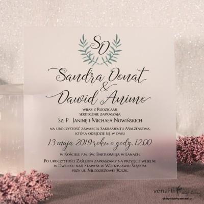 Zaproszenia ślubne transparentne, przezroczyste z zieloną gałązką