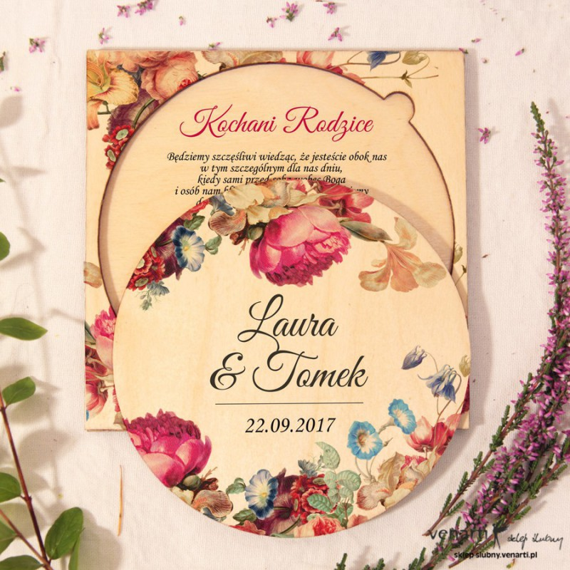 Eko kwiaty, drewniane zaproszenia dla Rodziców