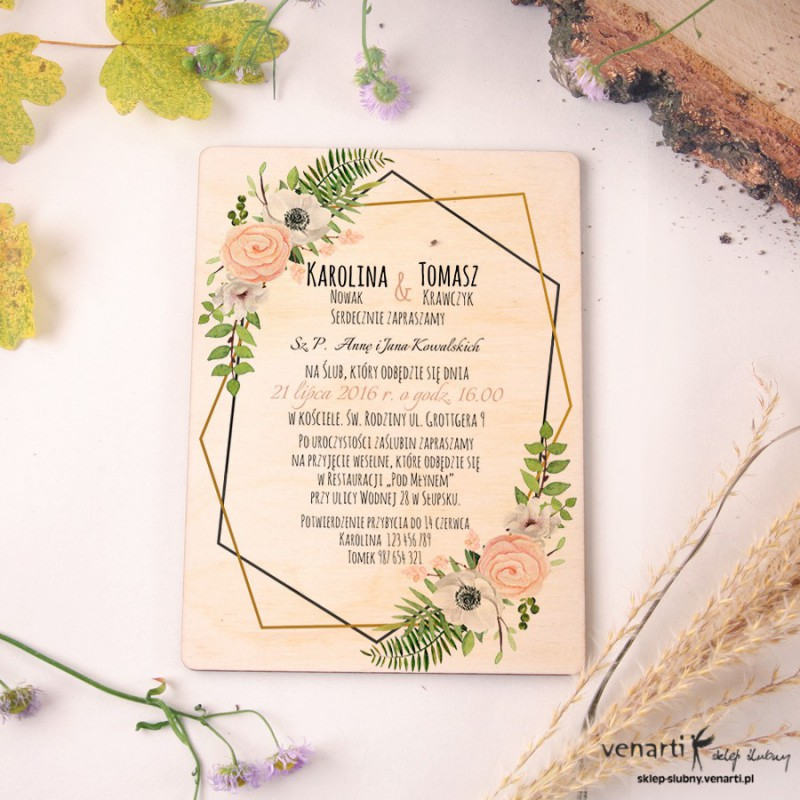 Drewniane zaproszenia ślubne Białe anemone, zawilec