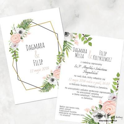 Białe anemone Zaproszenia ślubne, dwustronne