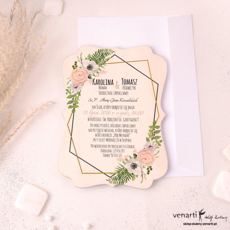Drewniane zaproszenia ślubne, ozdobne Białe anemone, zawilec
