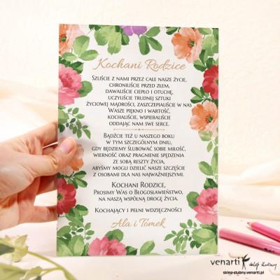 Kolorowe kwiaty Szklane zaproszenia dla Rodziców