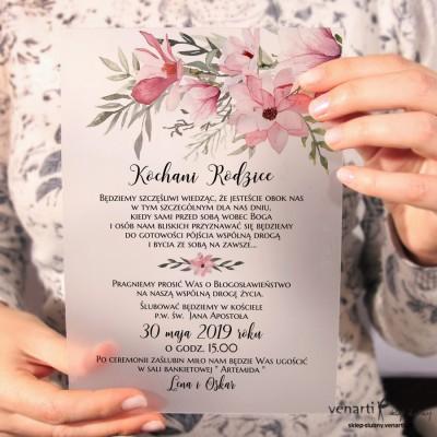 Magnolia, Transparentne Zaproszenia ślubne dla Rodziców