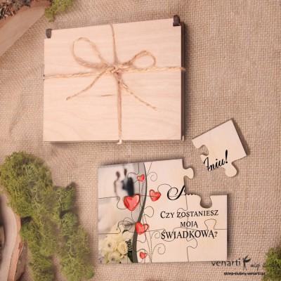 Świadkowanie, puzzle i pudełko drewniane: Czy zostaniesz moim świadkiem? Serca