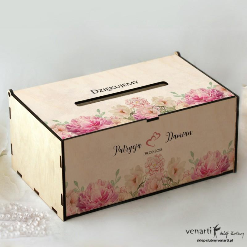 Piwonie Pudełko na koperty, telegramy