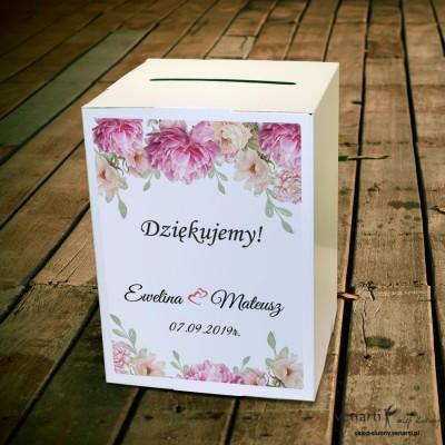 Piwonie Ślubne pudełko na koperty