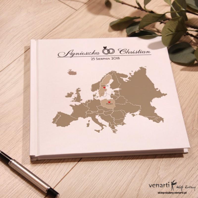 Mapa Europy Ślubny, biały album, księga gości