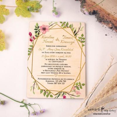 Złota ramka geometryczna z kwiatami drewniane zaproszenia ślubne DZ082