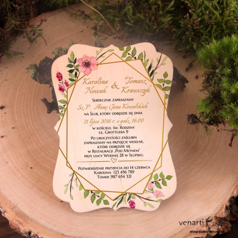 Złota ramka geometryczna z kwiatami drewniane zaproszenia ślubne ozdobne