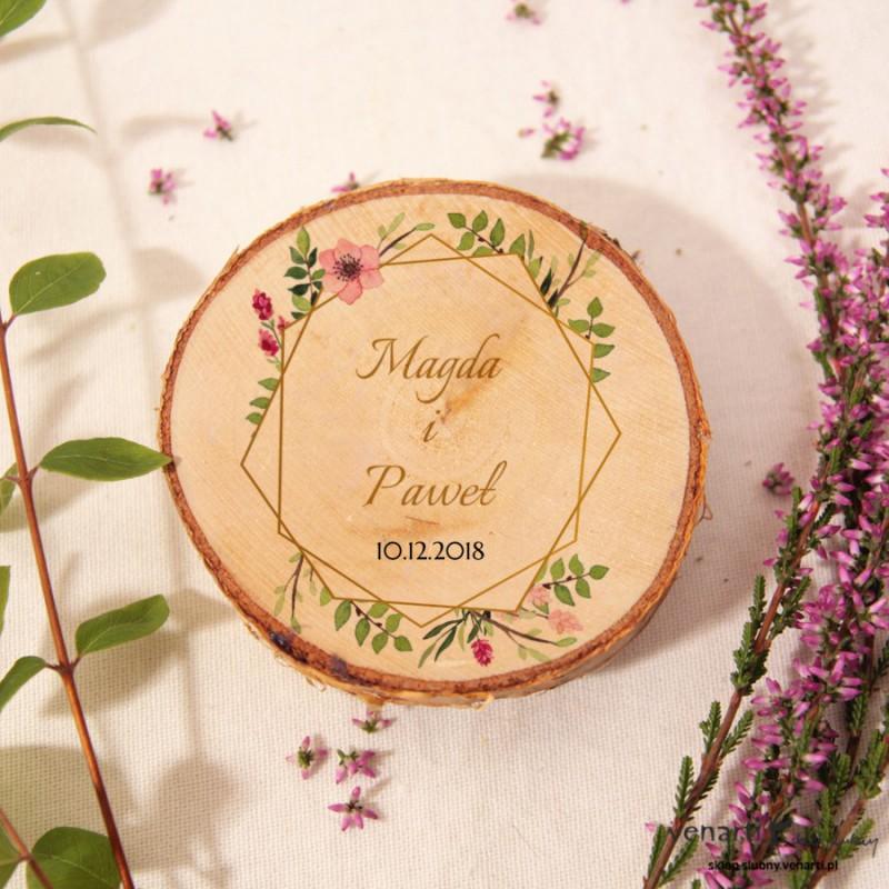 Złota ramka geometryczna z kwiatami Ślubny magnes na lodówkę Plaster brzozy