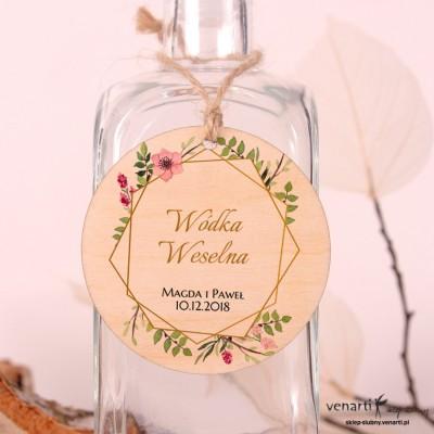 Złota ramka geometryczna z kwiatami Ślubne drewniane zawieszki
