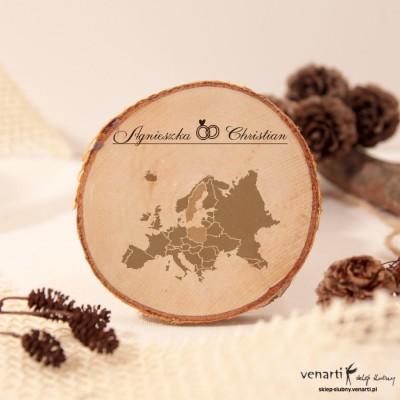 Mapa Europy Ślubny magnes na lodówkę Plaster brzozy