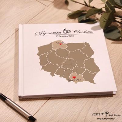 Mapa Polski Ślubny, biały album, księga gości